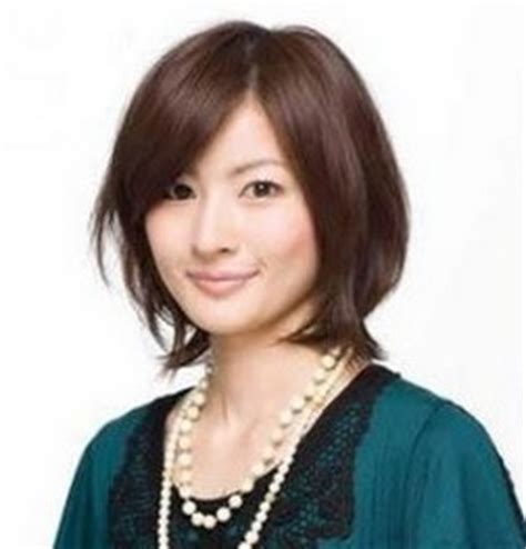 Short Haircut For Asian Woman With Long Side Bangs