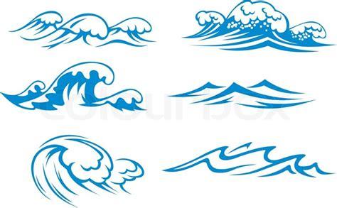 cartoon wave tattoo ocean and sea waves stock vector colourbox