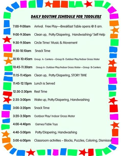 child care daily routine template daily schedule for toddlers it s for me to keep a