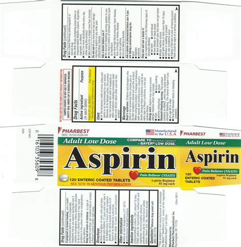 aspirin dosage low dose aspirin details from the fda via otclabels