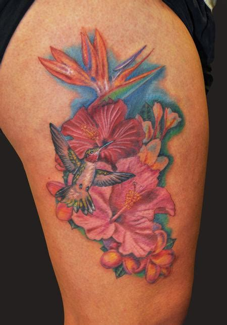 hibiscus hummingbird tattoo designs hawaiian flower tattoos