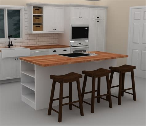 kitchen island with cooktop and seating this white ikea kitchen island includes a cooktop to provide with brown chairs and wooden top