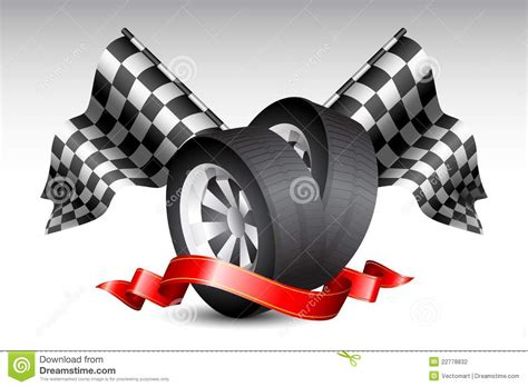 Round Garage Plans Race Flags With Tyre Stock Photography Image 22778832