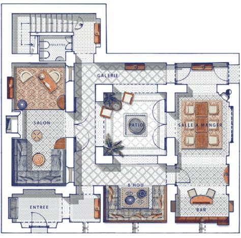 Moroccan House Plans by Privilege Riads Marakesh Ground Floor