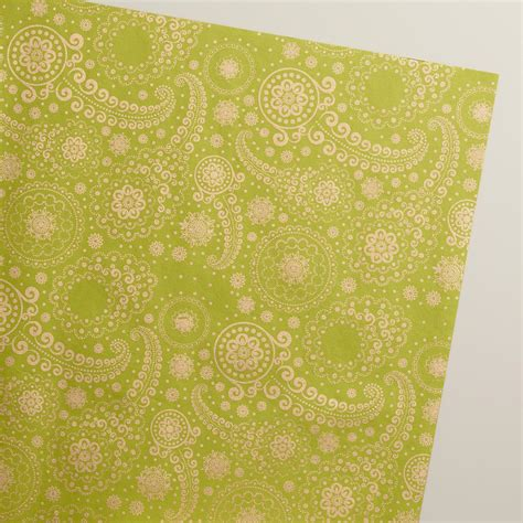Handmade Wrapping Paper - gold and green paisley handmade wrapping paper rolls 3