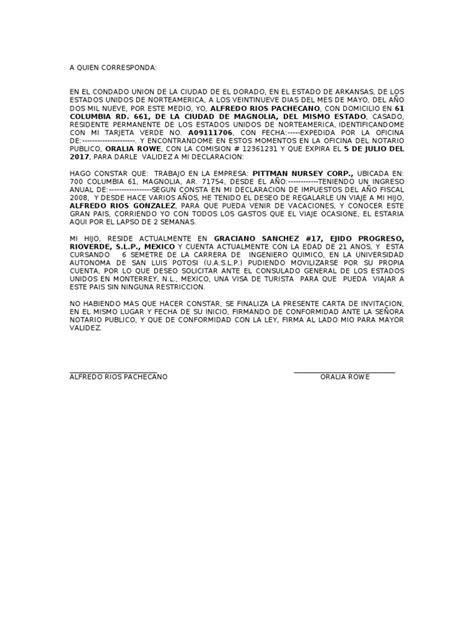 carta de invitacion para obtener visa americana modelo de carta de invitacion