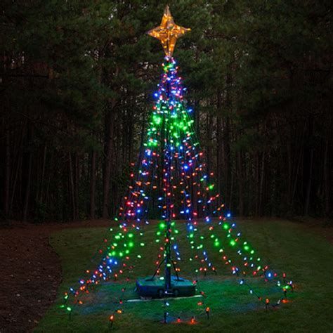 christma tree lights diy ideas make a tree of lights using a basketball pole lights etc