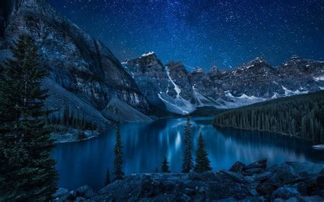 themes fluss in london wallpaper mountains forest lake night banff national