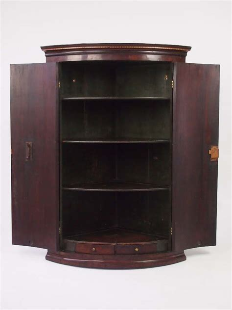 antique georgian mahogany bow fronted corner cupboard