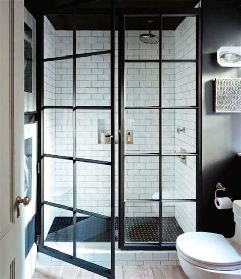 Shower Door And Window Modern Design For Framed Shower Door With Door Windows And Using Light Steel Painted In Black