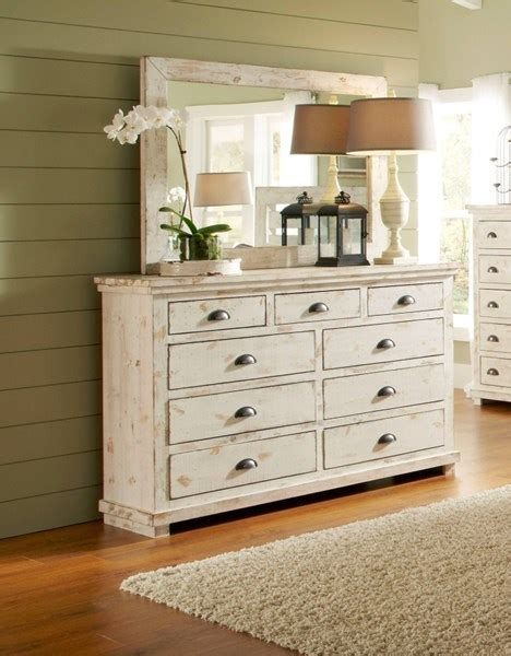 distressed wood dresser mirror progressive furniture willow distressed white dresser and