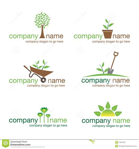 Gardening Company Logos Set Of Six Gardening And Nature Logos Vector Stock