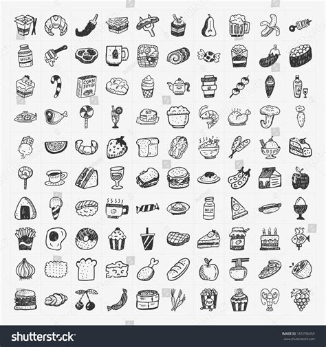 doodle food icons doodle food icons set stock vector 165736355