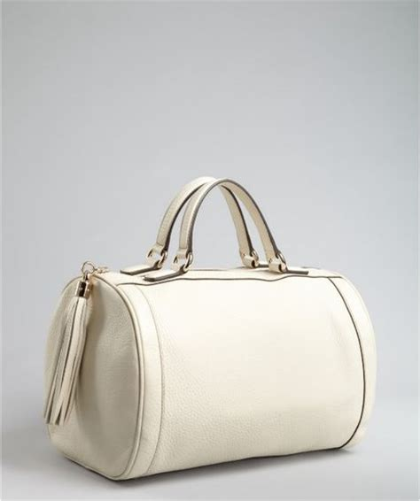 Gucci Boston Bag With Flower Detail by Gucci Ivory Leather Soho Tassel Detail Boston Bag In White