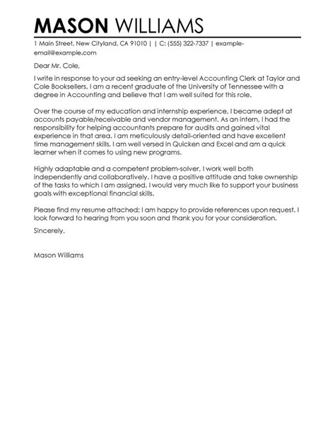 accounting clerk cover letter examples livecareer
