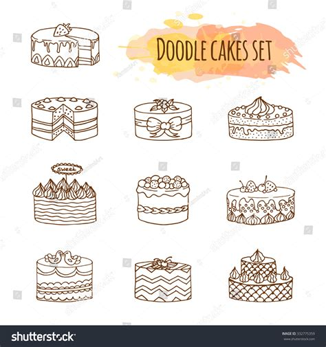 cake doodle free vector cake illustration set of cakes doodle