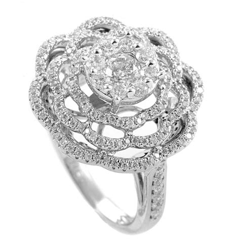 14k white gold flower ring sdr07756w ebay