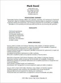 Free Sle Resume Machine Operator Professional Machine Operator Resume Templates To Showcase Your Talent Myperfectresume