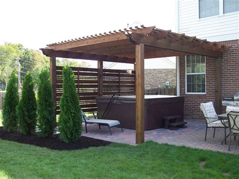 pergola and screening provide a tub oasis tub enclosure tubs