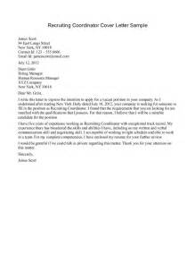 Cover Letter For Placement Agency by Sle Cover Letter For Agency Recruiter Cover Letter
