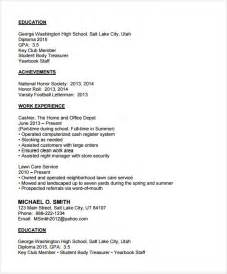 resume template high school sle college resume 6 documents in pdf psd word