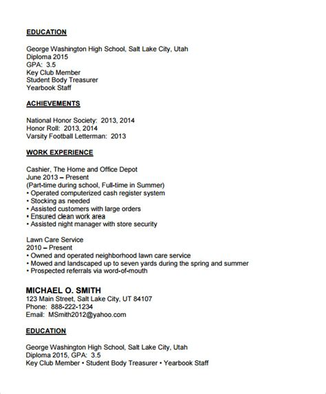 resume template exles for highschool students 7 sle college resumes sle templates