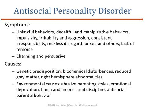 anti social personality disorder 169 2014 wiley sons inc all rights reserved ppt