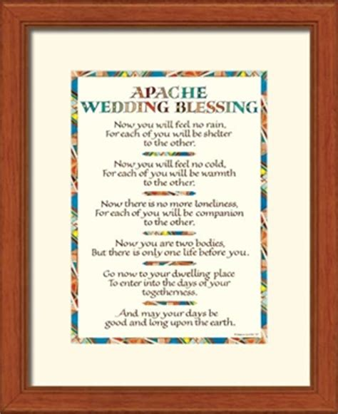 Wedding Blessings Mexico by Wedding Blessing Print Framed Apache Wedding Blessing