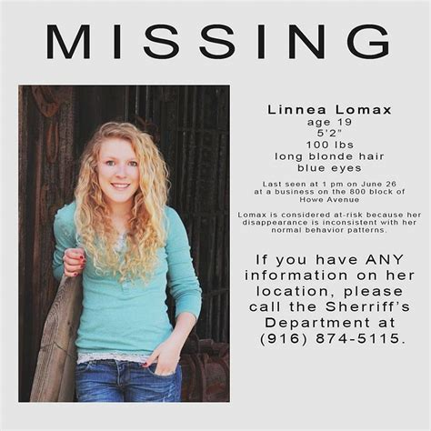 missing person alert linnea lomax the fillmore gazette