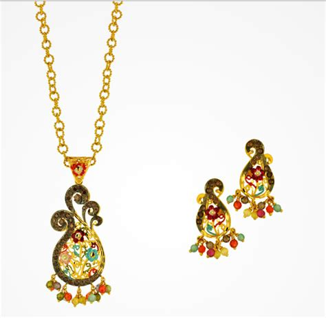 jewelry joyalukkas gold pendent earrings set designs