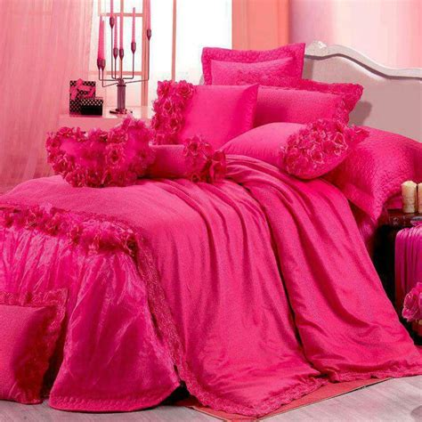 pink bed spread comforter bedding set in hot pink feminine chic pinterest