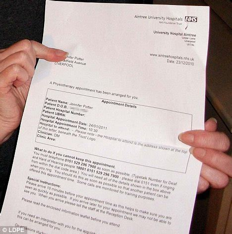 Hospital Appointment Letter Uk