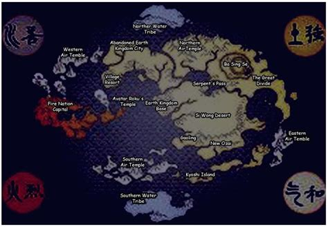 map   world  avatar   airbender labeled