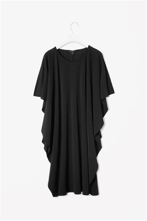 draped dresses with sleeves cos draped sleeve dress in black lyst