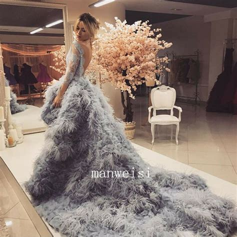 2017 ostrich feather luxury wedding dress backless hi lo bridal gowns custom ebay