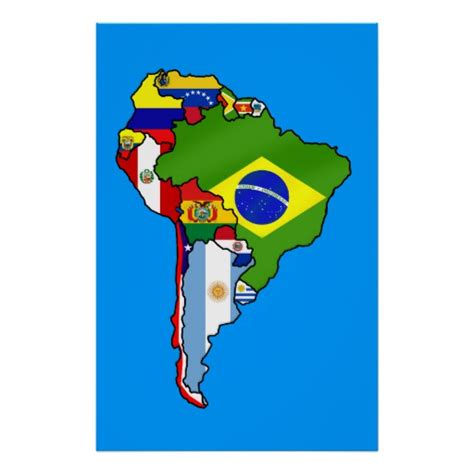 south america map and flags south american flags of south america flag map poster zazzle