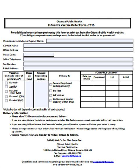 vaccine order form 9 sle vaccine order forms sle templates