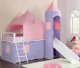 Pink castle twin loft bed for girls