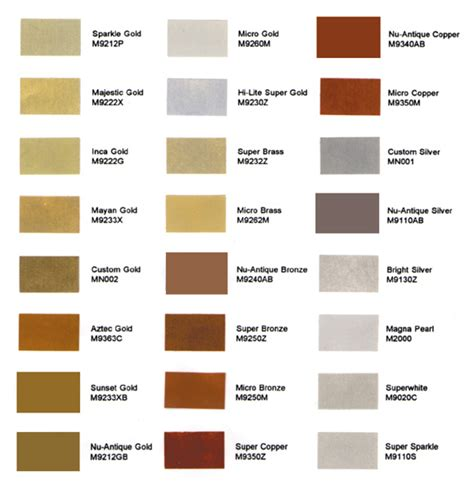 gold leaf company s mica powder color chart