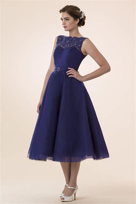 light blue tea length dress light blue tulle sleeveless tea length bridesmaid dress