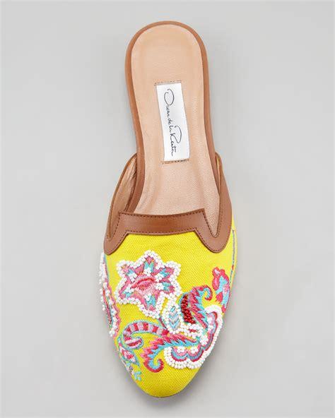 oscar de la renta slippers lyst oscar de la renta embroidered canvas