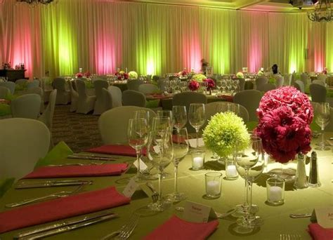 reception with pink and green centerpieces and uplighting pink and lime green wedding ideas
