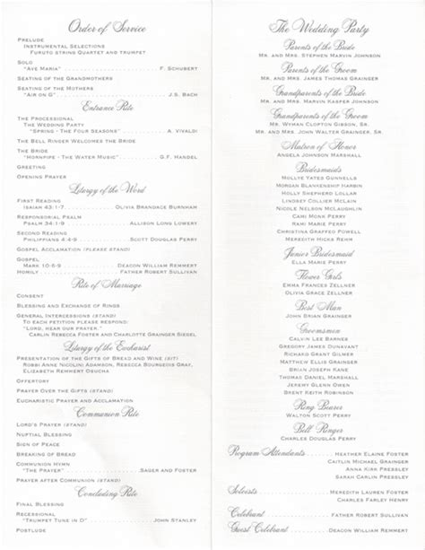 layout for wedding program program set ups