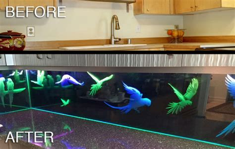 led backsplash parrots custom glass led kitchen backsplash