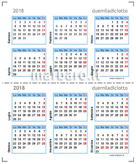 Calendario 2018 Con Settimane Calendario Compatto 2018 Tascabile In Pdf Da Stare