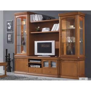 meuble tv merisier massif vitrines oscar meubles elmo