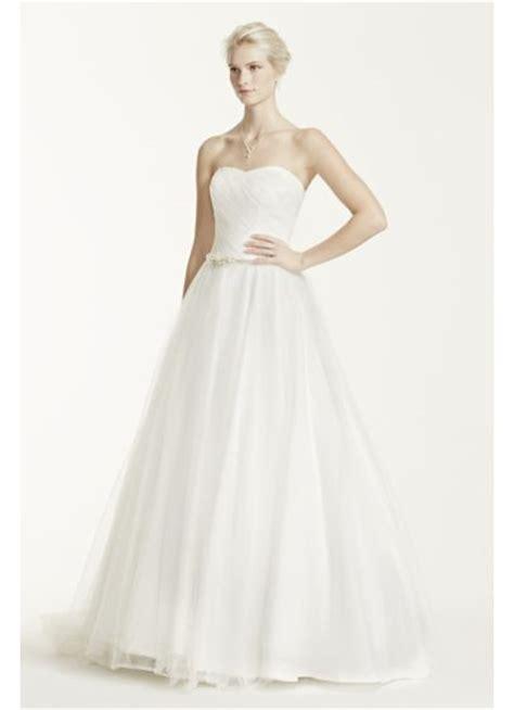 strapless ruched bodice tulle wedding dress davids bridal