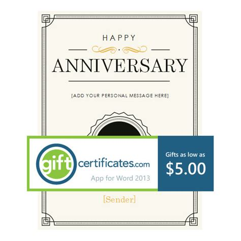 anniversary gift card template 77 creative custom certificate design templates free