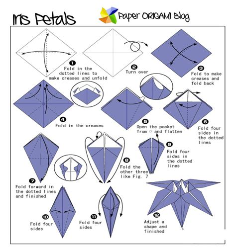 How To Fold A Paper Flower Step By Step - flowers origami iris flowers paper origami guide
