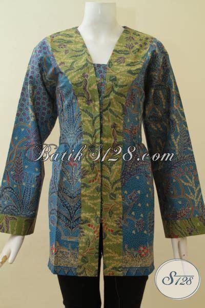 F20217004mot1 Xl Blus Batik Tulis Panjang Atasan Batik Kantor Murah atasan blouse wanita batik warna biru kombinasi ijo lengan